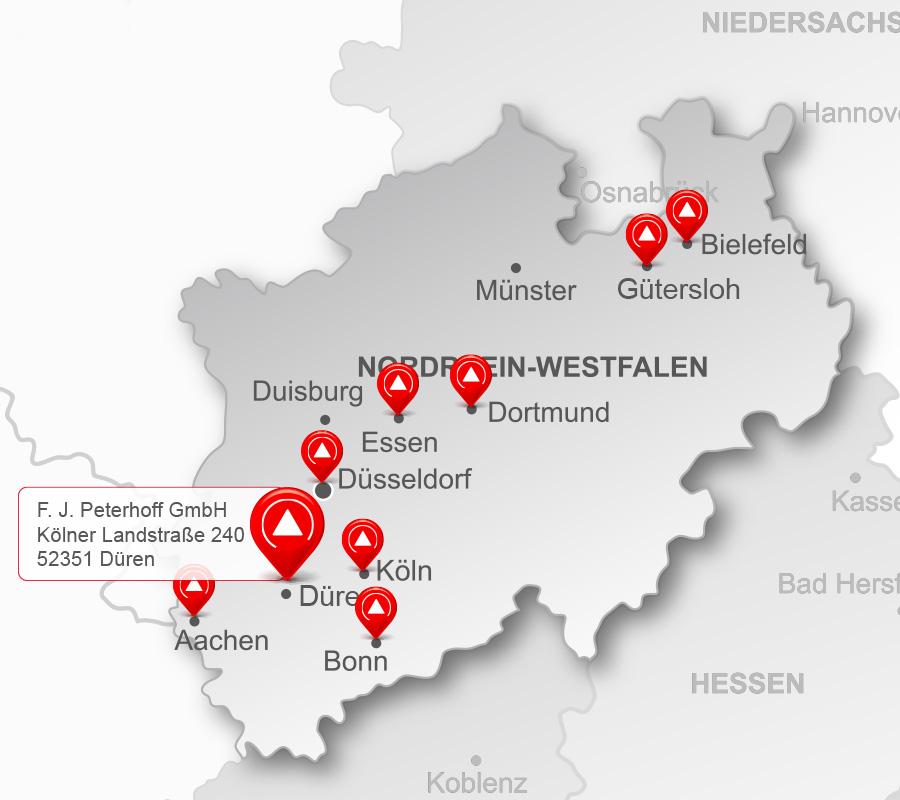 Die Standorte der Peterhoff-Gruppe – Region West