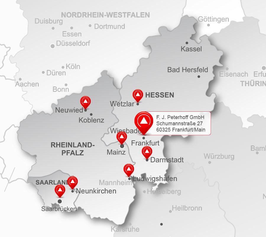 Die Standorte der Peterhoff-Gruppe – Region Mitte