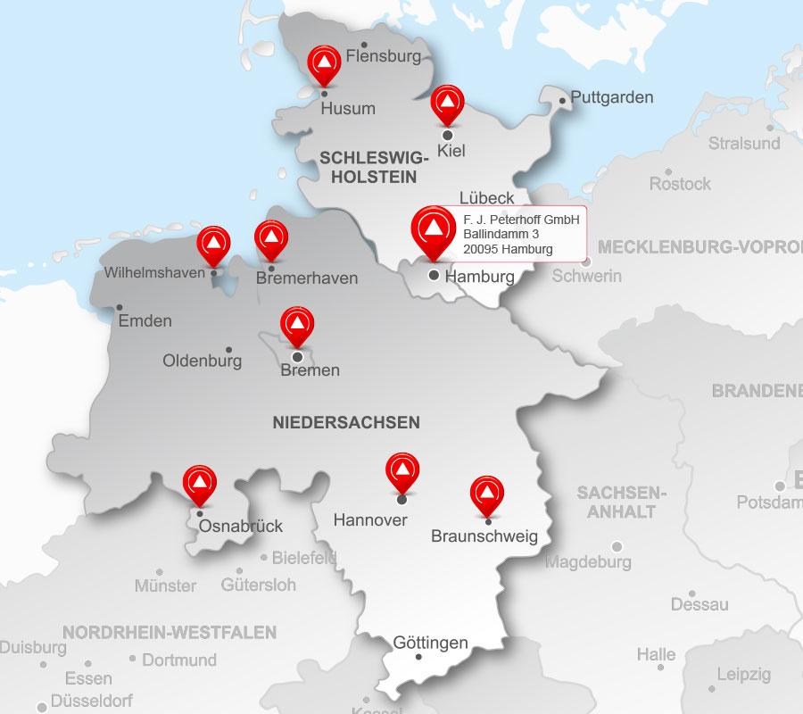 Die Standorte der Peterhoff-Gruppe – Region Nord