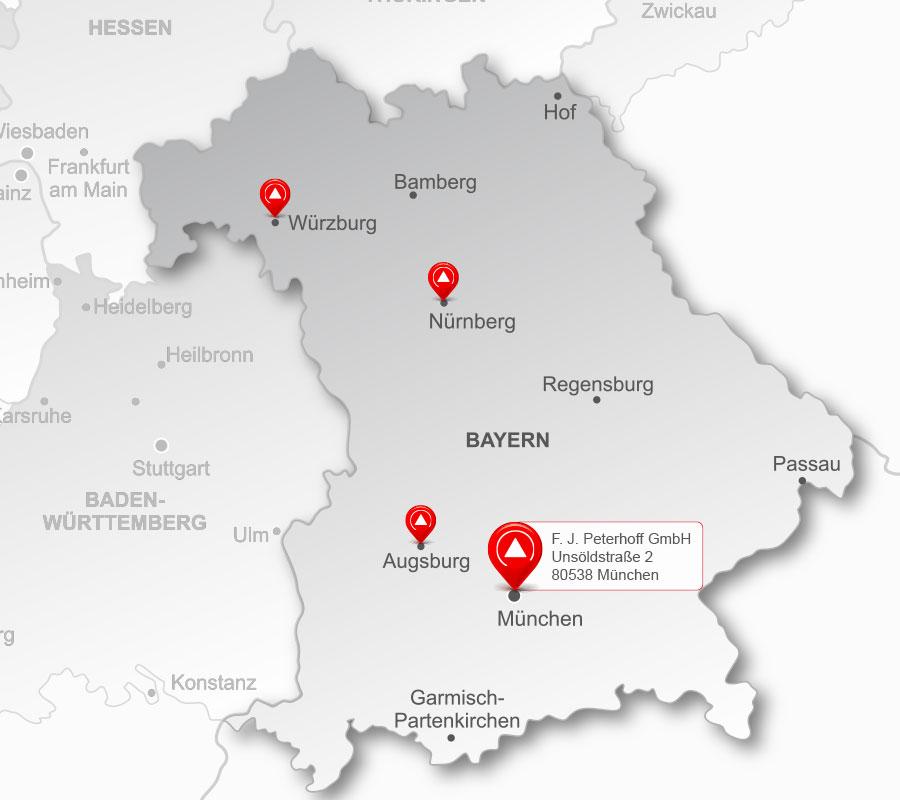 Die Standorte der Peterhoff-Gruppe – Region Bayern
