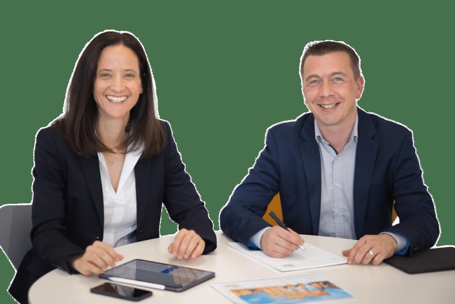 Die Geschäftsführung der Blitz Blank Peterhoff GmbH: Dr. Melanie Peterhoff und Benjamin Schötzau